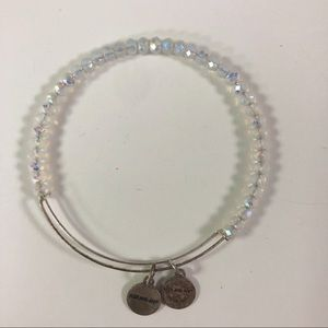 Alex and Ani Clear White Beaded Wire Bangle